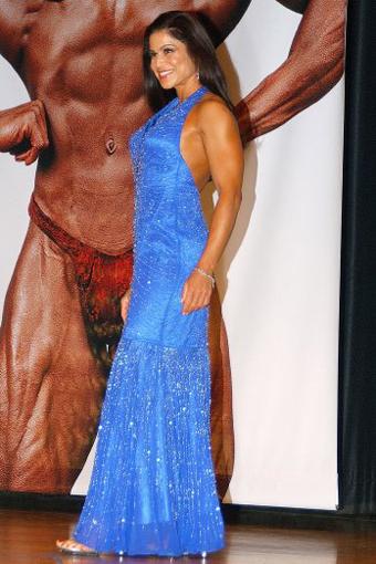 Tara Marie in blue dress