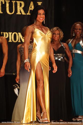 Tara Marie in gold dress